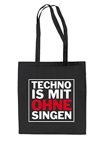 Techno is mit ohne Singen Jutebeutel Black