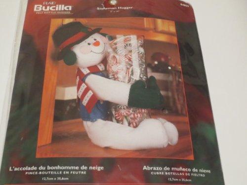 Snowman Bottle Hugger - Snowman Hugger ... Felt Bottle Hugger ... L'accolade du bonhomme de neige ... Pince-Bouteille En Feutre ... Abrazo de muneco de nieve --- Cubre Botellas de Fieltro --- 5