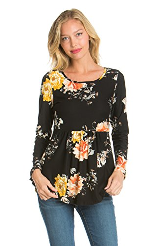 HerShe Women's Long Sleeve Babydoll Printed Tunic Top (3X-Large, 2332PCAO Black Yellow)