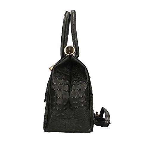 in Made véritable Aren femme 32x26x14 Noir en Italy Cm cuir Sac à main Y8w0wfSq
