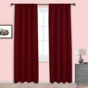 Nicetown burgundy curtains blackout drapes home decorations thermal insulated - Amazon curtains living room ...