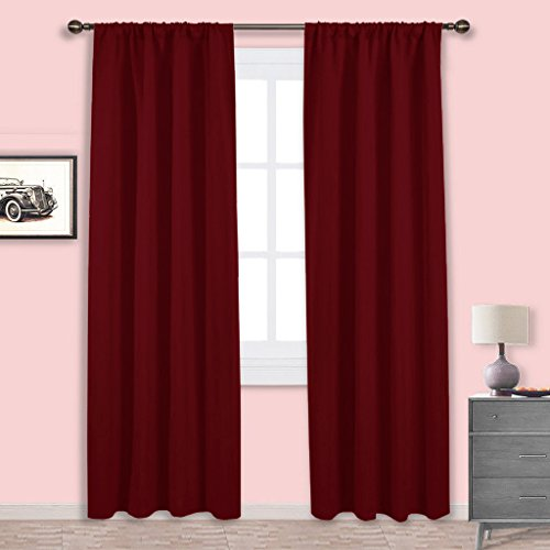 NICETOWN Burgundy Curtains Blackout Drapes - Home Decorations Thermal Insulated Solid Blackout Living Room Curtains/Draperies for Basement(One Set,42 x 84-Inch,Red) Burgundy Fabric Shade