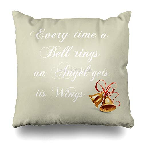 Ahawoso Throw Pillow Cover Square 20x20 Inches Every Time A Bell Rings an Angel Gets Its Wings Decorative Pillow Case Home Decor Pillowcase