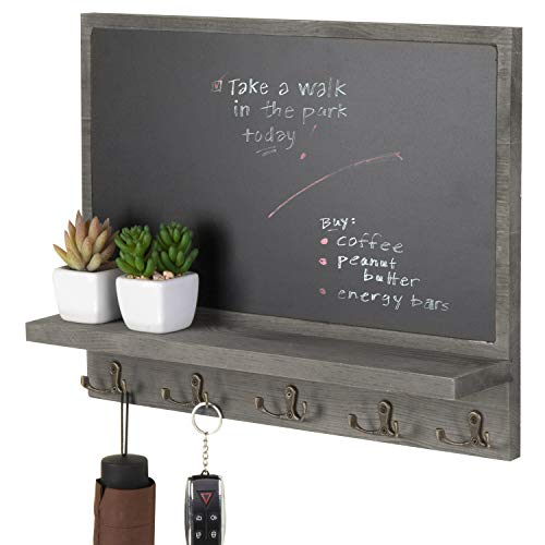 MyGift Barnwood Gray Wall-Mounted Chalkboard with 10 Key Hooks