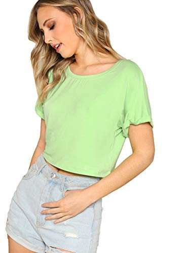 SweatyRocks Women's Short Sleeve Crew Neck Solid Basic Crop T-Shirt Green L ()