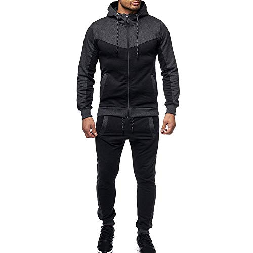 (WOCACHI Final Clear Out Mens Tracksuit 2 Piece Sets Patchwork Sweatshirt Tops Pants Hooded Sports Suit Black Friday Cyber Monday Hoodies Jackets Sweatpants Pullover Autumn Winter Long Sleeve Warm)