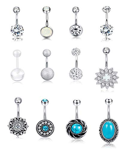 Milacolato 10-12PCS Stainless Steel Belly Button Rings for Womens Girls Navel Rings Barbell Dangle Acrylic CZ Body Piercing Jewelry (12pcs Turquoise) (Rings Belly Free Button Shipping)