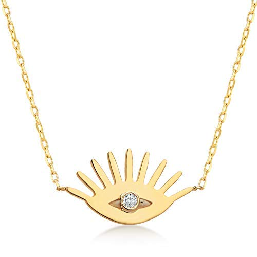 14k Solid Gold 0,01 ct Diamond Evil Eye Pendant Necklace for Women, A Perfect Surprise Gift for Her, 18 inch