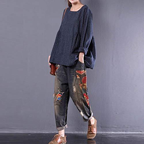 Plaid collo Casuale Canotte O Camicetta Moda Donna Elegante T shirt Maglietta Navy Blouse Camicia Taglie Forti Oq7w0
