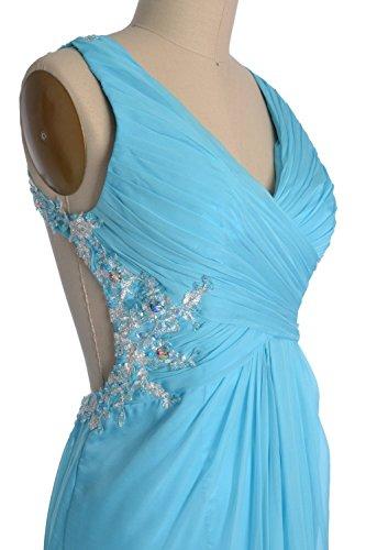 MACloth Women V Neck Lace Chiffon Long Prom Dress Formal Evening Party Gown Azul Marino Oscuro