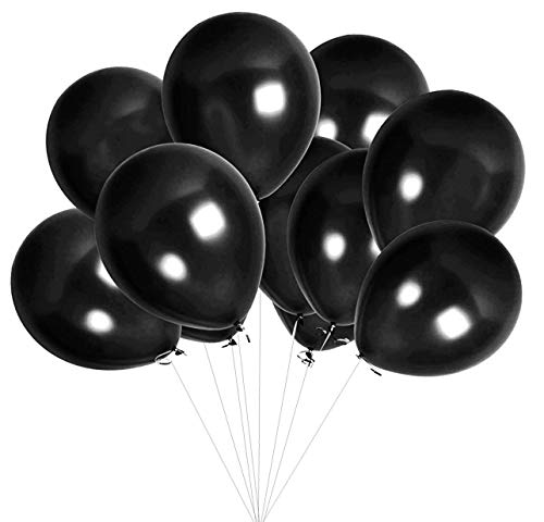 Elecrainbow 100 Pack 12 Inch 3.2 g/pc Thicken Round Metallic Pearlescent Latex Balloons - Shining Black Balloons for Party Supplies and Decorations