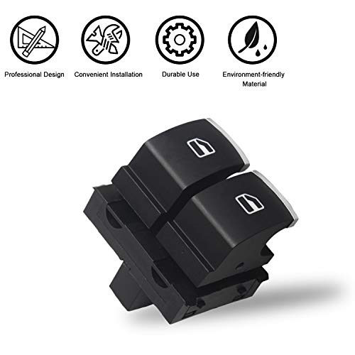 Travay Driver Side Power Window Switch 2 Door Compatible with 2010-2013 VW Golf, 2006-2013 VW GTI,2006-2009 VW Rabbit, 2011-2014 VW Eos, 2006-2011 VW Passat B6 Replacement Window Switch 5K3959857