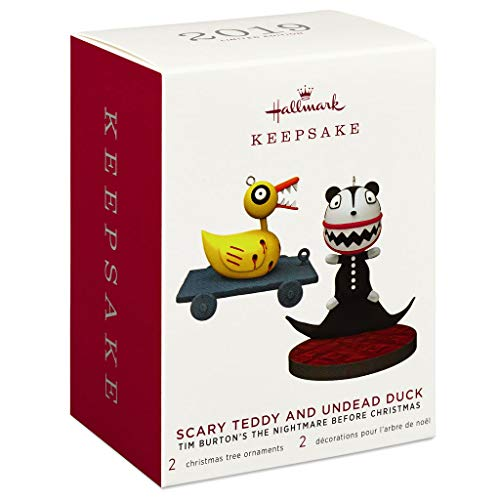 Hallmark Tim Burton's The Nightmare Before Christmas Scary Teddy and Undead Duck Ornaments, Set of 2 Movies & TV (Tv Nightmare Christmas Before On)