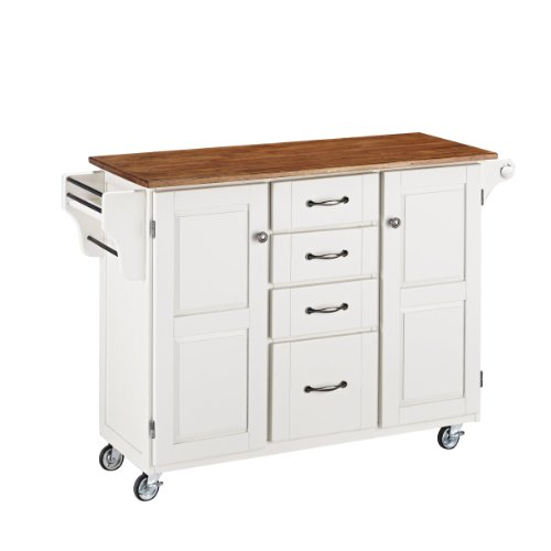 Create-a-Cart White 2 Door Cabinet Kitchen Cart with Oak Top by Home Styles