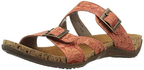 BEARPAW Women's Maddie Heeled Sandal, Redwood Embossed, 7 M US
