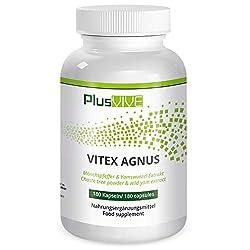 PlusVive - Vitex Agnus Mönchspfeffer Kapseln - hochdosiert: 250 mg Mönchspfeffer plus 100 mg Yamswurzel pro Kapsel - 180…