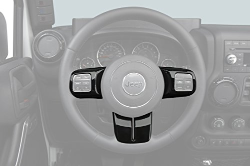 Black Steering Wheel & Air Conditioning Vent & Copilot Handle Cover Trim Kit for 2011-2018 Jeep JK Wrangler & Unlimited ()