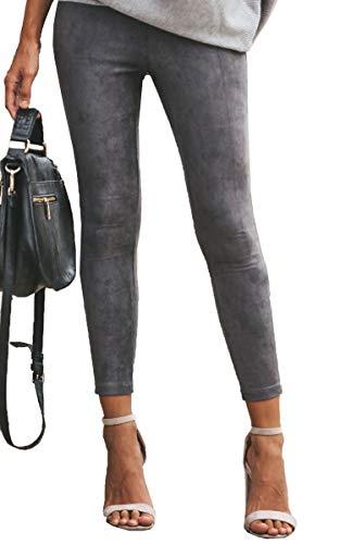 ECOWISH Womens Soft Stretch Basic Solid Faux Suede Leggings Elastic Waist Slim Fit Ankle Zip Pencil Pants