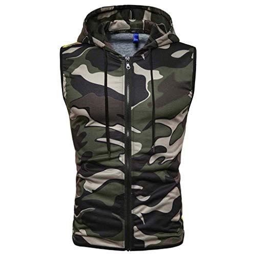 RAINED-Mens Casual Lightweight Sleeveless Zip-up Tank Hoodies Gym Bodybuilding Camo Tank Tops Cotton Zip up Hoodie