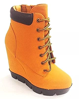 Bamboo Womens All-Weather Padded Cuff Lace Up Wedge Light-Weight Ankle Boots