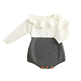 Girls Rompers, SHOBDW Kids Girls Baby Knitted Sweater Fall Winter Princess Romper Jumpsuit Clothes
