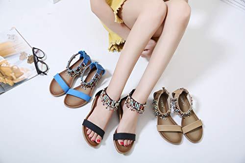 Sandales Compensé Flops Chaussures Perle Newcolor Toe Femmes Roma Clip Talon Haute Flip Bohémien axwqwf8I4S