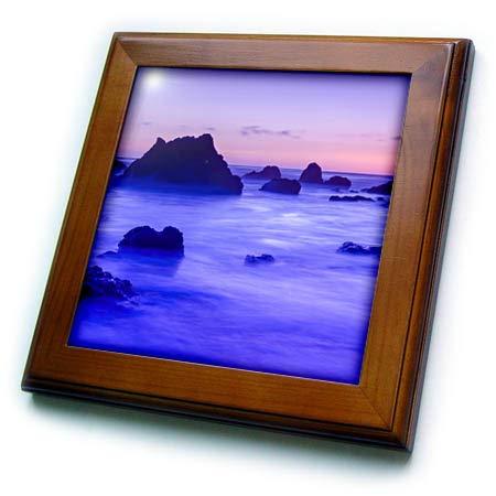 3dRose Danita Delimont - Seascapes - Sea Stacks at Dusk, El Matador State Beach, Malibu, California, USA - 8x8 Framed Tile (ft_314705_1)
