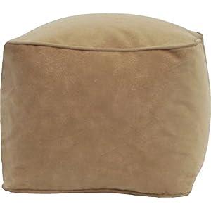 Gold Medal Bean Bags Micro-Fiber Suede Ottoman, Medium, Buff