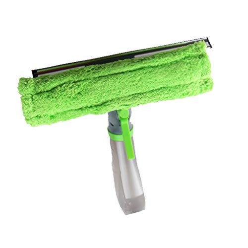 UCQueen Window Cleaner Kit Glass Squeegee/Wiper with Built in Spray Bottle and Washable Microfiber pad 3 in 1 Groove Brush for Indoor & Outdoor Windows/Shower/Car (Green)