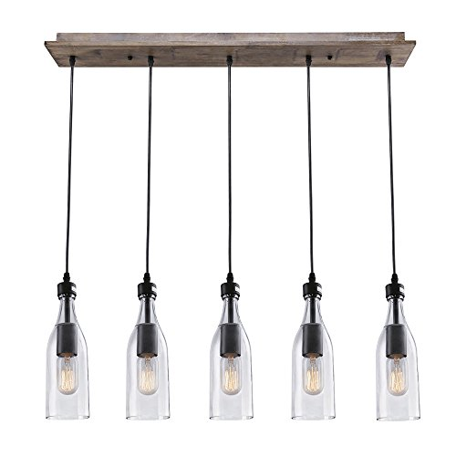 Cheap LNC A02982 Wood Pendant 5 Ceiling Linear Chandelier Kitchen Island Light fixtures, Brown