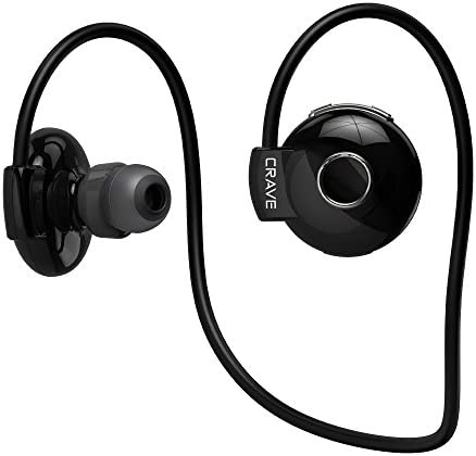 Crave Octane Sport Wireless Bluetooth Earphones, in-Ear Sweat and Water Resistant Stereo Lightweight Headphones Earbuds Premium Sports Headset with Built-in Mic Black