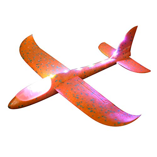 Show TINE ON LED Throwing Airplane Toy for Children DIY Plane Hand 35cm EPP Foam Launch Airplane Model Party Bag Fillers Flying Glider Plane Toys Game 19x19Inch (Orange)
