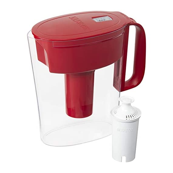 """Brita Small 5 Cup Metro Water Pitcher with Filter - BPA Free 1 SMALL WATER PITCHER: This small, plastic water filtration pitcher is easy to pour and refill. The space efficient pitcher fits perfectly on refrigerator shelves and is great for families. Height 9.8""""; Width 4.45""""; Length/Depth 9.37""""; Weight 1.39 pounds CLEANER AND GREAT TASTING: The BPA free Brita filter reduces chlorine (taste and odor), copper, mercury, zinc and cadmium impurities found in tap water for cleaner great tasting water. *Substances reduced may not be in all users' water FILTER CHANGE REMINDER: For optimum performance, a helpful status indicator on your filtered water pitcher notifies you when your water filter needs to be replaced"""