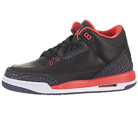Jordan Kids 3 Retro Gradeschool Black Crimson 398614-005 7 - 7 M US Big Kid by NIKE
