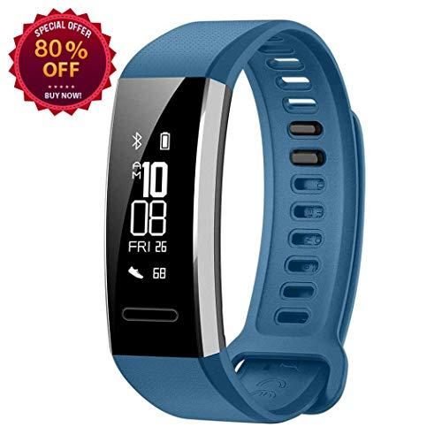 jestine Waterproof Bluetooth Sports Smart Wristband Watch Bracelet Fitness Tracker Support Blood Pressure, Sleep Tracker, Heart Rate Tracker for Kids, Women and Men (Blue)