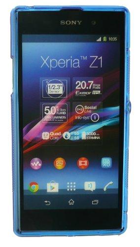 Emartbuy® Sony Xperia Z1 Del Patrón De Onda Del Gel De La Piel Azul De La Cubierta / Carcasa