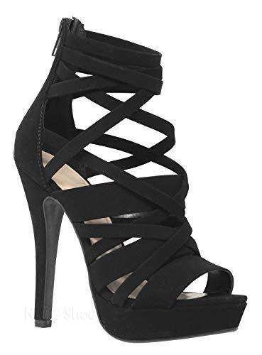 MVE Shoes Women's Strappy Platform Open Toe High Heels, Black Nbpu Size 7.5 ()