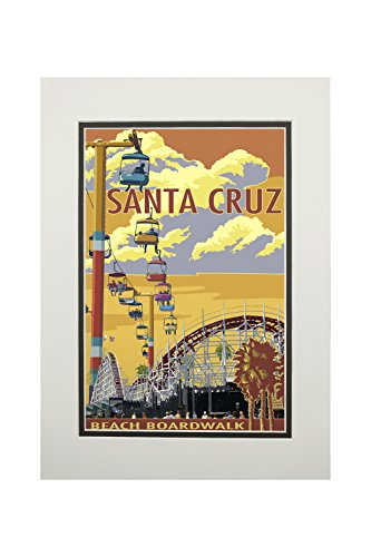 Santa Cruz, California - Beach Boardwalk (11x14 Double-Matted Art Print, Wall Decor Ready to Frame)
