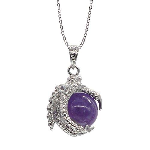 Amethyst Beaded Silver Dragon Claw Charm Necklace for Women Men Green Dragon Charm