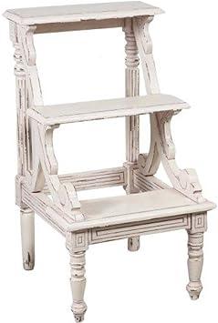 Arterameeferro - Escalera de madera de caoba blanca para librería, Biblioteca estantería: Amazon.es: Hogar