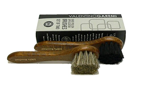 Shoe Cream Applicator Brush Set – Real Horse Hair Bristles and Hard Wood Handle Manufactured in Germany.