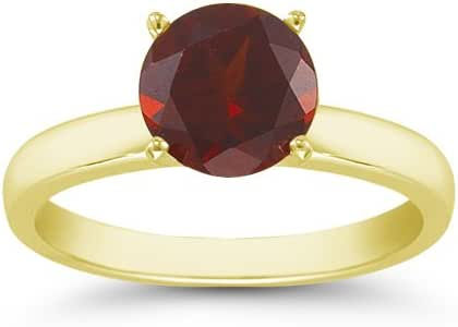Amazon.com: 2.00 Carats 8mm Garnet Gemstone Solitaire Ring