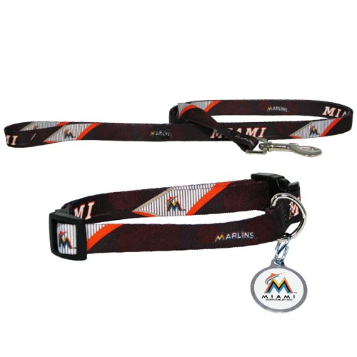Hunter Miami Marlins Collar, Lead and ID Tag Combo Set for Pets, Small