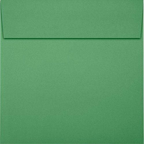 LUX Paper Square Invitation Envelopes for 6 1/4 x 6 1/4 Cards in 80 lb. Holiday Green, Printable Envelopes for Invitations, with Peel & Press Seal, 50 Pack, Envelope Size 6 1/2 x 6 1/2 (Green)