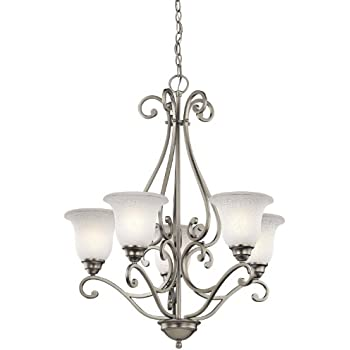 2020NI Dover 5LT Chandelier Brushed Nickel Finish with Etched