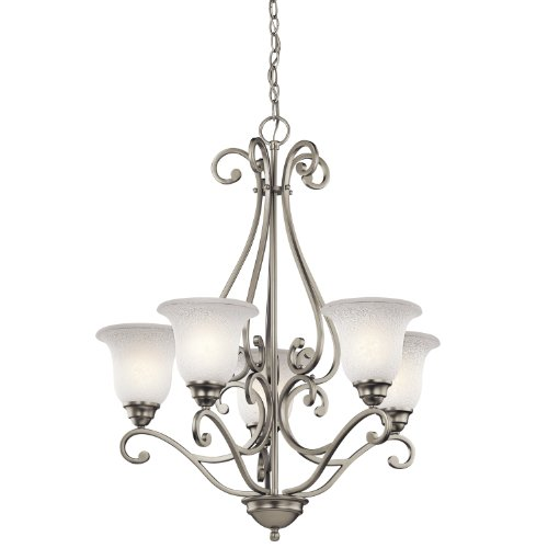 Bronze Finish 5 Light Chandelier (Kichler Lighting 43224NI Camerena 5-Light Chandelier, Brushed Nickel Finish with White Scavo)