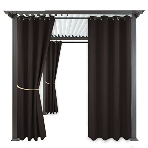 Home Cabana (RYB HOME Indoor Outdoor Curtains - Drapes for Porch Cabana Window Curtain Water Repellent Exterior UV Protected Curtain Panel with Rust-Proof Grommet Top, 1 Piece,52 x 84 inch, Brown)