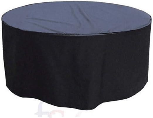 QEES JJZ177 - Funda circular para mesa de jardín (tela Oxford impermeable y transpirable, redonda, 142 x 68 cm), color negro: Amazon.es: Jardín