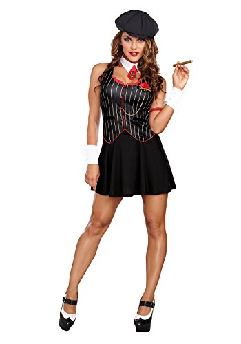 Dreamgirl Women's Bad-Acious Gangster Costume, Black,