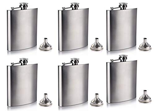 Gifts-Infinity 8 oz Hip Stainless Flask Set of 6 -